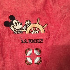 SS embroidered Mickey Button Down XL